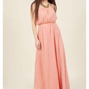 Dotted chiffon maxi dress, pink